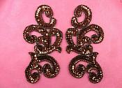 "Sequin Appliques Bronze MIRROR PAIR Scroll Designer Beaded Iron On 7"" (XR357X-bz)"