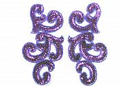 "Sequin Appliques Purple MIRROR PAIR Scroll Designer Beaded Iron On 7"" (XR357X-pur)"