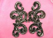 "Sequin Appliques Smoke MIRROR PAIR Scroll Designer Beaded Iron On 7"" (XR357X-sm)"