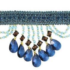 "E6111 Denim Blue Isabella Drapery Teardrop Trim 5"""