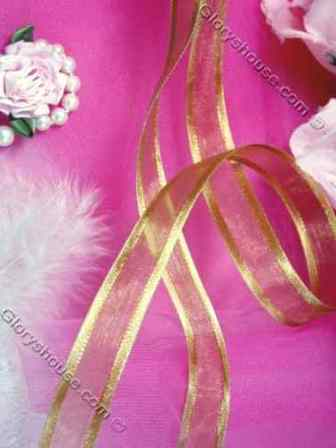 R5  Gold Satin Edge Organza Craft Ribbon 5/8""