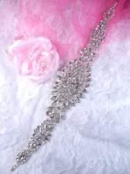 """DH48 Rhinestone Applique Crystal Glass Bridal Sash Patch 12"""""""