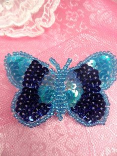 SA101 Butterfly Applique Sequin Beaded Blue 2.25""