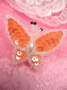 SA102 Butterfly Applique Sequin Beaded Orange 1.75""
