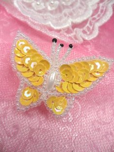 SA102 Butterfly Applique Sequin Beaded Yellow 1.75""