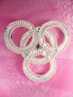 SA52 REDUCED Wedding Ring Sequin Applique Beaded Rhinestone 4""