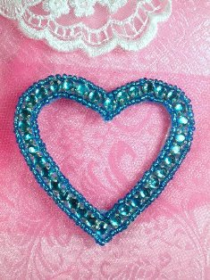 SA60 REDUCED Turquoise Heart Rhinestone Applique 2.5""