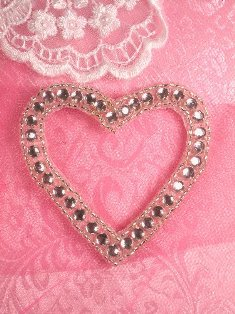 SA62 REDUCED  Heart Rhinestone Applique 2.5""