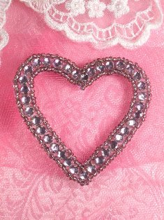 SA63 REDUCED Lavender Heart Rhinestone Applique 2.5""