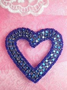 "SA69 REDUCED Blue Heart Rhinestone Applique 2.5"""