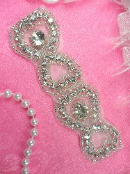 SAM12 Silver Beaded Crystal Rhinestone Applique 5""
