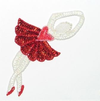 "E017 L Red Ballerina Sequin Beaded Applique 7.5"""