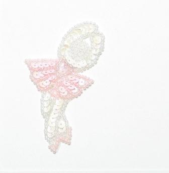 """E017 XS Pink Ballerina Sequin Beaded Applique 2.75"""""""