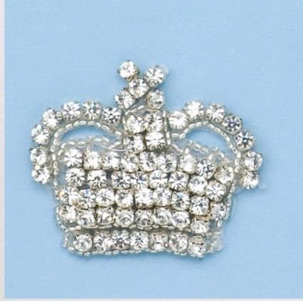 "RM0356-SLCR  REDUCED  Genuine Rhinestone Crown Beaded Applique 2"""
