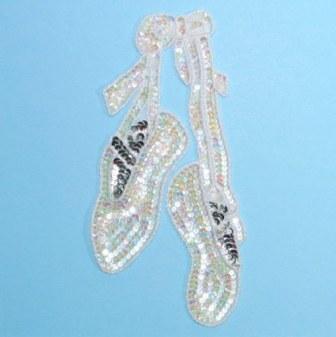 "E1201 Dance Slippers Sequin Beaded Applique 8.75"""