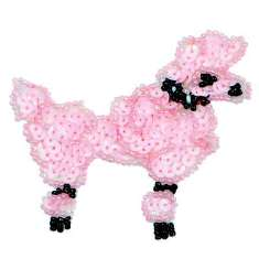 E1302 Pink Poodle Dog Beaded Sequin Applique 3.25""