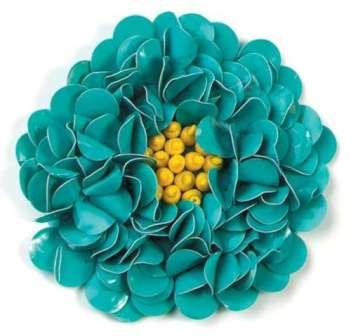 E250  Turquoise Beaded Sequin Applique Flower  2.75