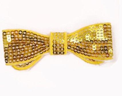 E3440  Yellow Sequin Bow Applique 2.75""