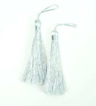 E5528  Set of Two Silver Metallic Tassels 3.75""