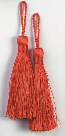 """E5524  Set of Two Red Tassels 3.75"""""""