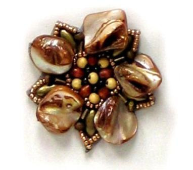 E5863  Brown Pearl Shell  Beaded Applique Motif  2""