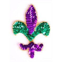XR355s Fleur De Lis Applique Mardi Gras Beaded Sequin 4""