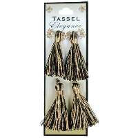 E5970  Set of ( 4 ) Black & Gold Mini Tassels 2""