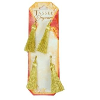 E5972  Set of 4 Metallic Gold Mini Tassels 2""