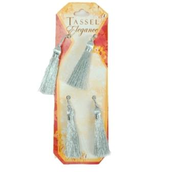 E5970  Set of 4 Metallic Silver Mini Tassels 2""