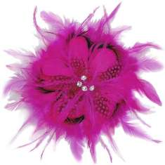 E5998 Fuchsia Feather  Pin Clip Brooch