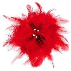 E5998 Red Feather  Pin Clip Brooch