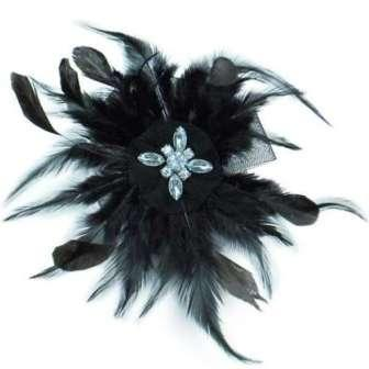 E6045  Black Feather Clip Brooch Rhinestone Applique 7&quot;