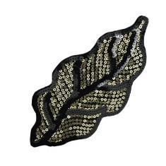 """E6051 Black Gold Leaf Felt-backed Sequin Applique 7"""""""