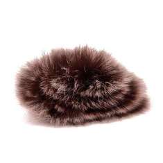 E6057 Brown Mix Rabbit Fur Brooch or Applique 2.5&quot;