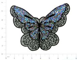 E6326 Black Butterfly Embroidered Sequin Applique 6.5""