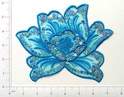 GB66 Turquoise Rose Embroidered Sequin Applique 6""