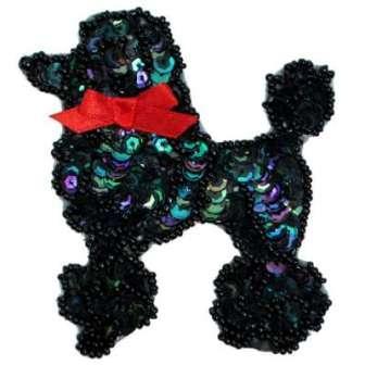"""E6363  Black AB Poodle Beaded Sequin Applique 3.75"""""""