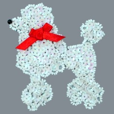 E6363  White AB Poodle Beaded Sequin Applique 3.75""