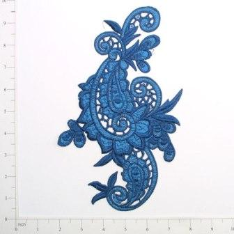 E645  Blue Paisley Embroidered Iron On Applique 9.5""