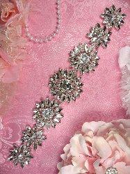 """TS153 Floral Silver Crystal Rhinestone Bridal Sash Embellishment 11"""""""