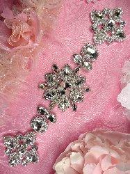 """TS156 Silver Crystal Rhinestone Applique Embellishment  9.5"""""""