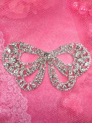 STS148 Bridal Bow Butterfly Crystal Rhinestone Applique Embellishment 5.25""
