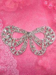 "TS149 Bridal Bow Butterfly Crystal Rhinestone Applique Embellishment 5.25"""