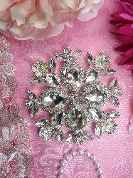 """TS165 Flower Silver Crystal Rhinestone Applique Embellishment  4"""""""