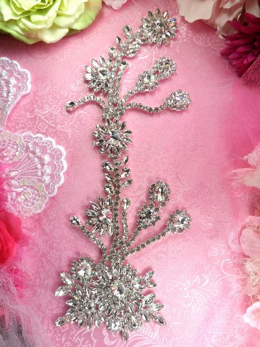 "TS166 (STS159) HALF OFF ""Growing In His Glory"" Large Floral Vine Crystal Clear Glass Rhinestone Flower Embellishment Metal Back 15"""