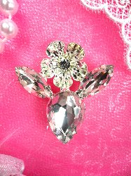 "STS162 Flower of Praise Crystal Clear Rhinestone Embellishment Designer Metal Back  1.5"""