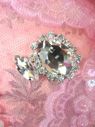 "STS194 Petite Crystal Clear Rhinestone Embellishment Designer Metal Back 1"""