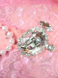"STS197 Crystal Clear Rhinestone Embellishment Designer Metal Back 1.5"""