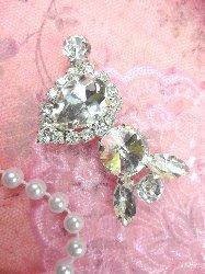 "STS198 Petite Crystal Clear Rhinestone Embellishment Designer Metal Back 2"""