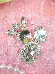 """STS201 Abstract Crystal Clear Rhinestone Embellishment Designer Metal Back 2"""""""